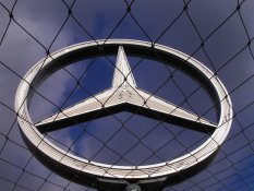 The Mercedes star on top of the Hauptbahnhof in Stuttgart