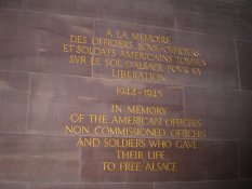 Memorial plaque to the American soldiers who freed and died for Alsace